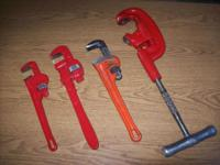 RIDGID # 2A THREE WHEEL PIPE CUTTER AND THREE PIPE