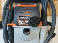 LIKE NEW RIDGID 5 GAL STOR-N-GO WET / DRY VAC Features