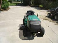 "WEED EATER 42"" RIDING LAWNMOWER. RUNS GOOD, CUTS GOOD."