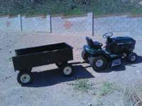 craftsman riding mower and cart excellent condition.