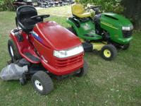 Riding and push mowers, plus parts for decks,