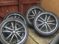 "4 Lexani Rims + Tires 75% Thread 22"" Fits Porsche"