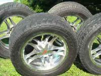 305/50/R20 tires. Rims fit GMC. Tires have about 75%