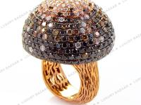 This ring is opulent and shines with diamonds. This