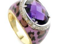 This ring is colorful and striking. It is made of 18K
