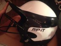 Softball rip-it helmet never used black and white face