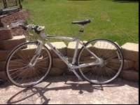 FOR sale LADIES road bike, White with pink accents.