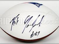 Featured is a New England Patriots Regulation-Size