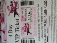 1 ROCK FEST 4 day VIP $475  Section A row 14  show