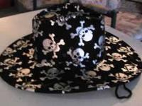 Rock N Roll Cowboy Hat With Skulls Good for Costume $10
