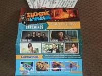 I payed $250 for 4 carowinds rock the park tickets.