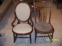 2 ROCKING CHAIRS SOLID WOOD ROCKER $75 FABRIC ROCKER