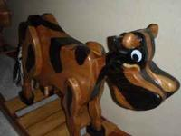 Handmade Wooden Rocking Cow This very unique rocking
