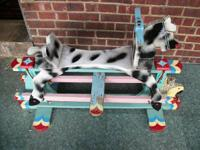 Rocking Horse Glider vintage wooden handpainted. This