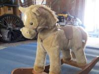 1 tan rocky horse for small children great condition,