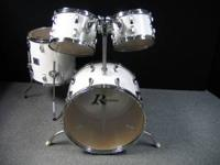 "Rogers white drums, 22"" bass drum, 12"" & 13"" mounted"