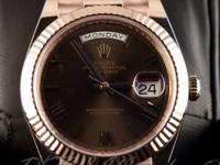 Pre-owned Rolex 18k Everose Gold President Day-Date 40