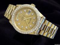 Genuine Rolex w/gold linen diamond dial & diamond