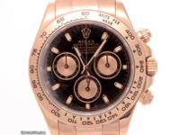 18K rose gold Rolex Cosmograph Daytona with a black