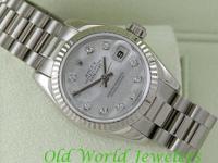 Rolex Ladys 18K white gold President with factory