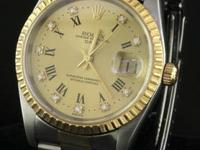 Rolex Datejust 15223 SS/18K gold .20CT diamond Roman