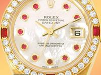 factory rolex white mother-of-pearl dial with ruby hour