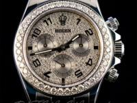 Pre-owned Rolex Custom Diamond Stainless Steel Daytona