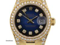 Dial: Factory Blue Vignette Diamond Dial with gold