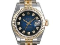 Rolex Datejust Black and Blue Diamond Dial Jubilee