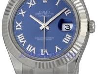 Rolex Datejust II Blue Roman Dial Fluted 18k White Gold