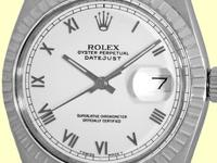 white dial with silver roman numerals, center sweep