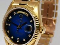 Rolex Day-Date 18K Gold Blue Vignette Diamond Dial Mens