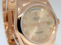 Rolex Day Date 18k Pink Gold Mens Automatic Everose