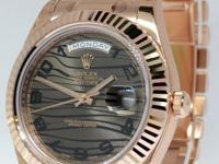 Rolex Day-Date II 18k Everose Gold Bronze Wave Dial