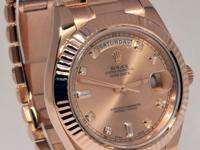Rolex Day-Date II 18k Rose Gold Mens Watch Diamond Dial