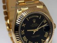 Rolex Day-Date II 18k Yellow Gold Mens Black Roman Dial