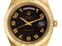 Gents Rolex Day-Date II in 18k with black wave dial set