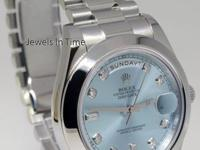 Rolex Day Date II Platinum Glacier Diamond Dial Mens