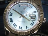 Rolex Day-Date II President 18k White Gold Blue Roman