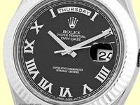 black dial with raised silver roman numerals, sweep