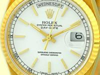 white dial with raised gold baton hour markers, sweep