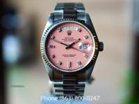 Rolex Day Date White Gold, Pink Diamond Stella Dial,