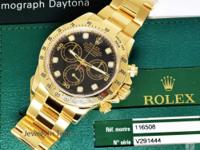 Rolex Daytona 18k Gold Black Diamond Dial Chronograph