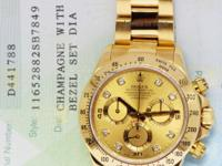 Rolex Daytona 18k Gold Diamond Dial Chronograph Watch
