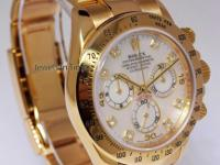 Rolex Daytona 18k Gold MOP Diamond Dial Mens Watch