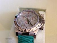 Rolex daytona white gold leather band ref 116519