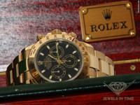 Rolex Daytona Chronograph 18k Yellow Gold Black Dial