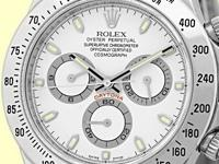 white dial with silver subdials, raised silver