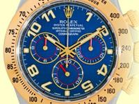blue dial with luminescent yellow gold hour hands and