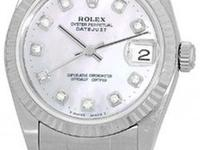 "Mid-Size Stainless Steel Rolex Diamond ""Datejust""."